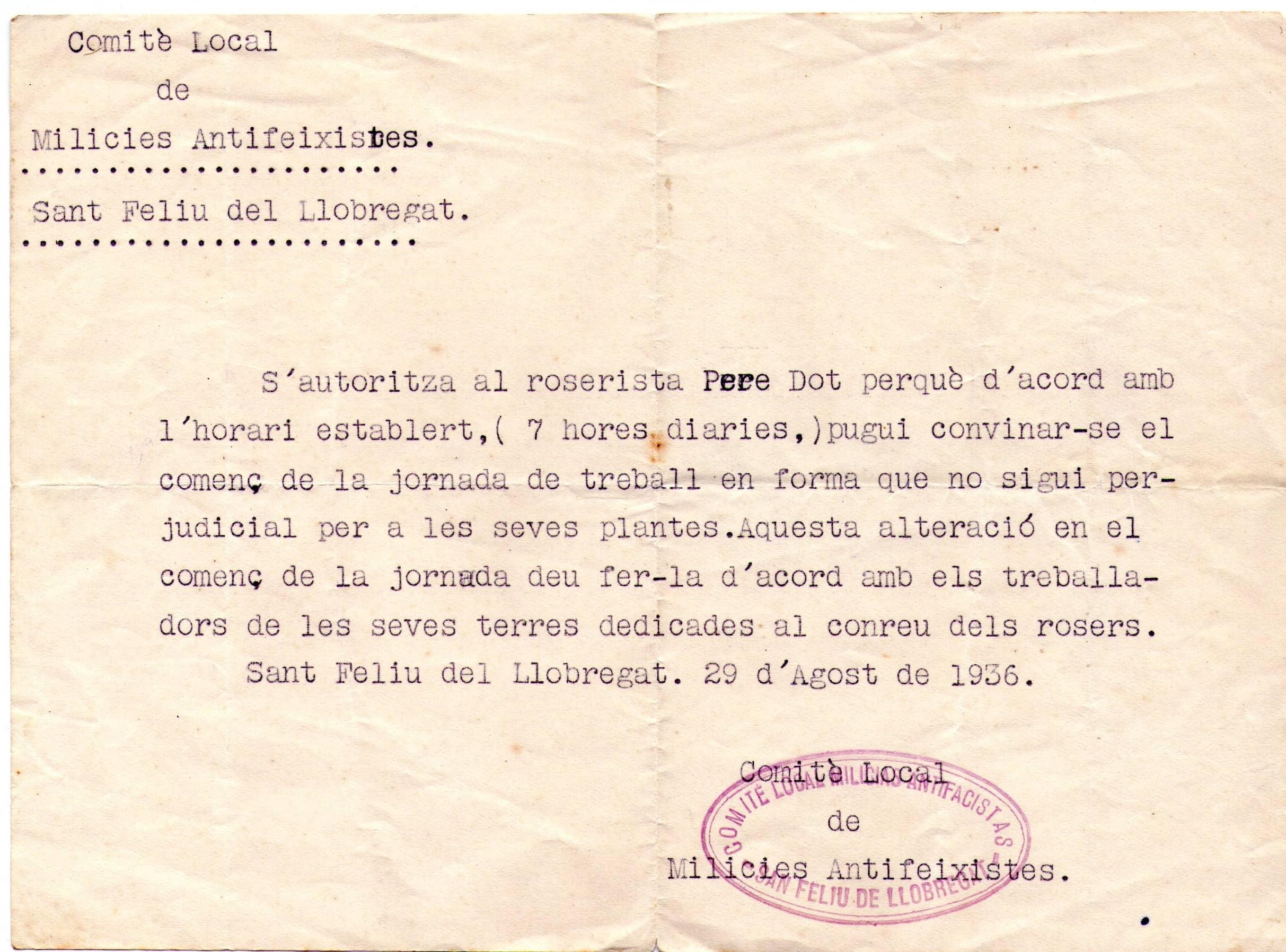 Autorització del Comité de Milícies Antifeixistes
